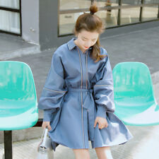 Womens Blue Slim Fit Belt Trench Coat Cotton Blend Puff Sleeve Loose Chic Jacket