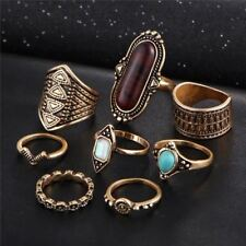 Women Stone Ring Silver Plated Midi Finger Rings Vintage Knuckle Set Gifts Sale