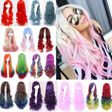 Long Wave Curly Hair Two Tone Halloween Ombre Wig Heat Resistant Fiber Full Wigs