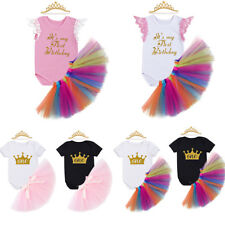 Baby Girl First 1st Birthday Party Tutu Skirt 2Pcs Set Romper + Headband Outfit
