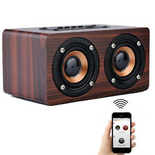Retro Wooden Bluetooth Speaker HIFI Wireless Surround 3D Dual Loudspeakers Clear