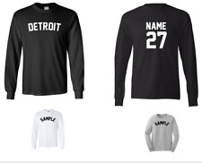 City of Detroit Custom Personalized Name & Number Long Sleeve Jersey T-shirt