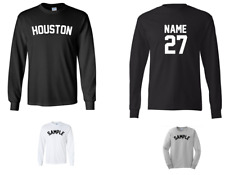 City of Houston Custom Personalized Name & Number Long Sleeve Jersey T-shirt