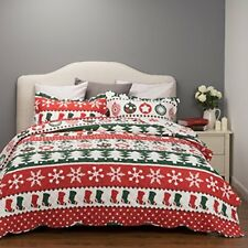 Reversible Bed Cover King Bedspread Printed Quilt Coverlet Set 3 Piece Snowflake