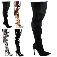 Womens Stiletto Pointed Toe Fashion Stretch High Heel Thigh High Boots UK 3-10