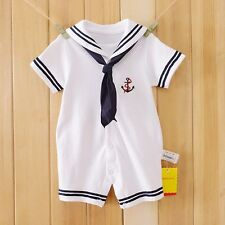 Newborn Baby Boys Sailor Romper Navy Suit Grow Outfit Summer Marine Outfit Sets