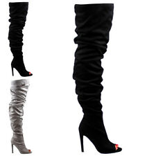 Womens Fitted Stiletto Dress Peep Toe Slouch Thigh High Fashion Boots US 5-12