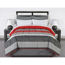 Striped Bedding Set King Comforter Sheets Pillow Cases Shams Bed Skirt Red Gray