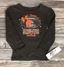 NFL Team Apparel Toddler Girls Long Sleeve Tee Shirt Cleveland Browns NEW