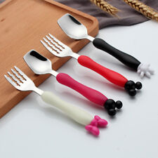 Baby Kids Fork and Spoon Set Cartoon Characters Stainless Steel Flatware-NEW