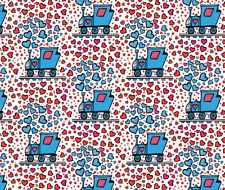Train happy heart train (white background) Fabric Printed by Spoonflower BTY