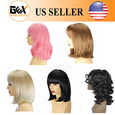 GEX Synthetic Wigs Short NaturalStraight Wavy Bob Hair Fiber Full Wigs For Women