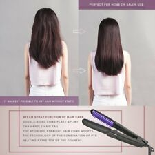 Pro Spray Steam Hair Straightener Brush Ceramic Flat Iron Heating Hair Comb HOT