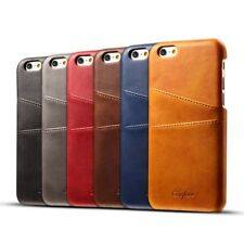 Shockproof Calf Phone Case Back Cover Card Pocket For iPhone Sumsung Galaxy SA