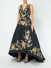 $15,235 New Oscar de la Renta Floral Metallic Embroidered Navy Hi Low Gown 0 2 4