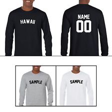 State Hawaii Custom Personalized Name & Number Long Sleeve Jersey T-shirt