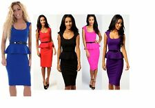 Women Ruffled Frill Pencil Bodycon Peplum Dress Knee length Midi Belted Stretchy