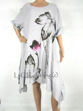 NEW Ladies Floral Italian Lino Rose Quirky Lagenlook Linen Boho Tunic Dress