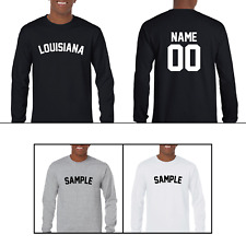State Louisiana Custom Personalized Name & Number Long Sleeve Jersey T-shirt