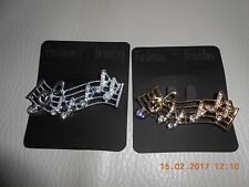 DIAMANTE TREBLE CLEF/NOTES ON SCALE LADIES BROOCH-COLOUR CHOICE-CARDED-NEW