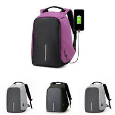 New Women Unisex Anti-Theft Backpack Laptop USB Port Charger Travel Oxford Bags