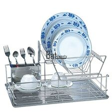 Stainless Kitchen Dish Cup Drying Rack Holder Sink Drainer 2 Tier Dryer BTSY
