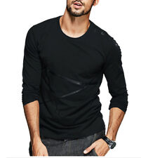 Casual Men's Long Sleeve T shirts Round Neck Cotton Solid Basic Tee M L XL XXL