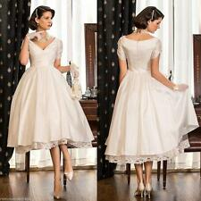 Stock Lace White/Ivory Tea Length Sweetheart Wedding dress Size 6-8-10-12-14-16