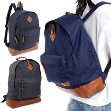 Plain Backpack - Back To School College Bag Retro Fashion Unisex Rucksack Bags