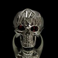 SHINING STERLING SILVER MENS SKULL RING ONE PERCENTER 1% OUTLAW ON FIRE ANY SIZE