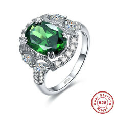 Noble Oval Cut Emerald & White Topaz 100% 925 Sterling Silver Ring Size 6 7 8 9