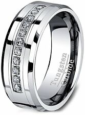 8mm Tungsten Carbide Ring Cubic Zircon Mens Wedding Band