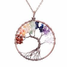 Tree of Life Handmade 7 Chakra Natural Stone Pendant Necklace Vintage Copper Opa
