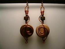 UNIQUE GORGEOUS BRUSHED COPPER LUCITE/WOOD/COPPER WIRE LOOP AND WRAP EARRINGS!