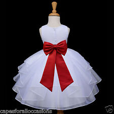 WHITE FLOWER GIRL PAGEANT DRESS 6-12 MONTH 12-18 MONTH 2 2T 3 4 4T 6 8 10 4613t