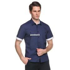 New Mens Casual Short Sleeve Turn-down Collar Contrast Color Button-Down EA9
