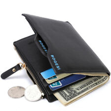 Hot Men's Leather Wallet Short Trifold Cowhide Checkbook Cards Holder Purses