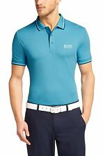 HUGO BOSS Sea Blue Paddy Pro Pique Short Sleeve Cotton Polo Golf Basic T-Shirt