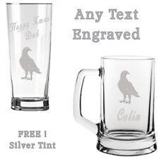 PIGEON Fancier Racer ANY TEXT Engraved Tankard or Pint Beer Glass FREE DELIVERY