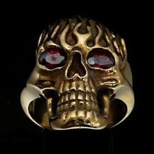 BRONZE MENS COSTUME OUTLAW BIKER RING GHOSTRIDER SKULL ON FIRE CZ EYES ANY SIZE