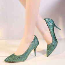 Womens High Heel Shiny Pointed Toe Patent Leather Pumps Shoes AU Plus Size 2-12
