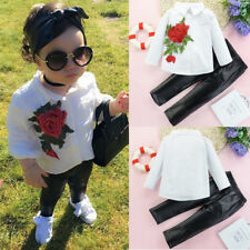 2PCS Kids Todder Baby Girl Rose Appliques Shirt Tops+Long Leather Pants Outfits