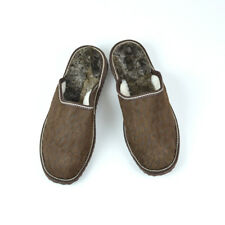 Men's Brown handmade slippers , made with suede leather sheep skin and Fur
