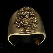 SHINING BRONZE MENS KNIGHT COSTUME RING WITH A MEDIEVAL DRAGON BLACK ANY SIZE