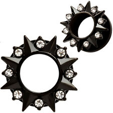 Pair Black CZ Spikes Stainless Steel Ear Tunnels Screw Fit Plugs Gauges Earrings