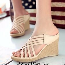 Nice!! Womens Leather High Heels Wedges Platforms Strappry Casual Slipper Shoes