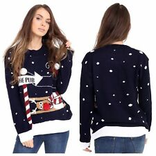 XMAS WOMENS JUMPER LADIES RUDOLPH TO THE PUB KNITTED CHRISTMAS JUMPER XMAS TOP