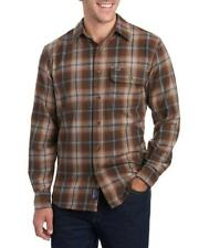 SMITH'S WORKWEAR Mens Button Down Flannel Shirt BROWN Plaid NWT Sizes L, XL