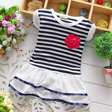 Newborn Baby Fashion Clothing Toddler Girl Cotton Striped Infant Dress W Flower