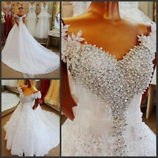 Luxury Beaded Crystals Wedding Dress White/Ivory V Neck Bridal Gown Long Train